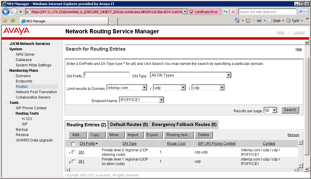2.4.3.2 BCM Routing entries In the same manner we configure the routing entries for BCM.