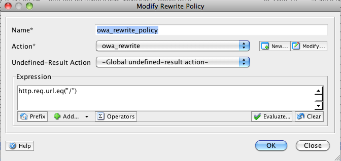 Then, navigate to Rewrite > Policies and click Add. Copy the content from the following screen shot, and click OK.