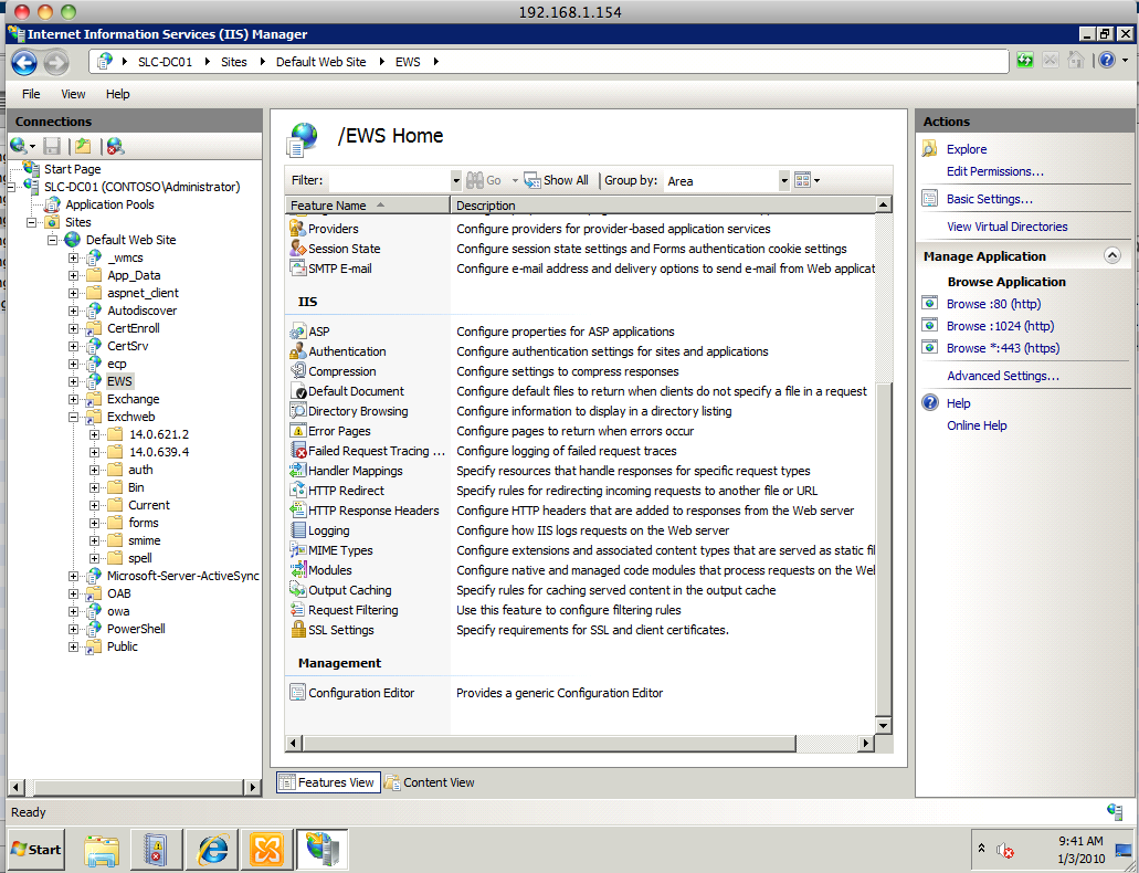Launch IIS Manager on the Exchange Client Access server system. (It is found in the sub-folder of Applications called Administrative Tools.
