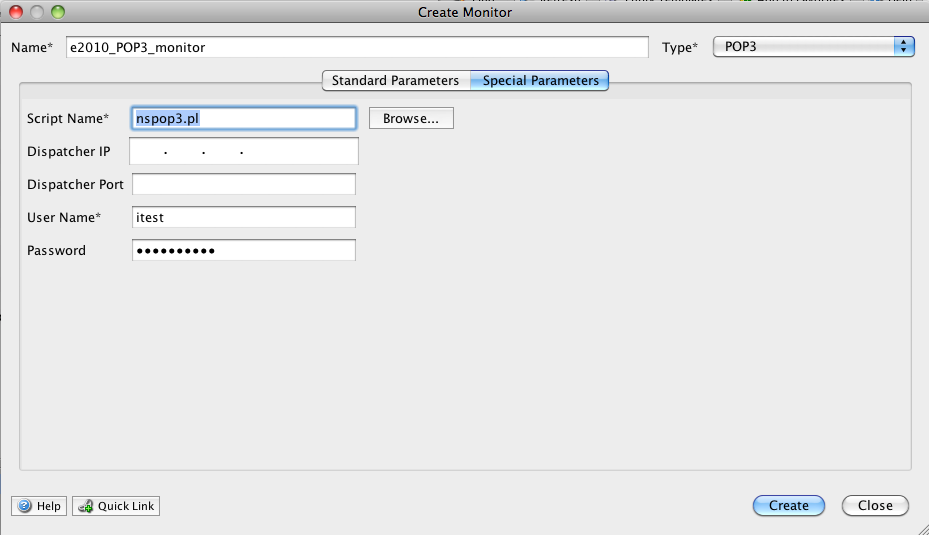 Click Special Parameters and enter the values as shown in the following screen shot. Click Create.