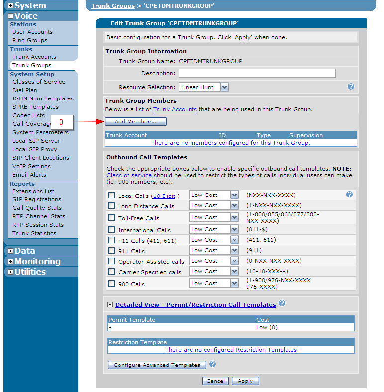 4. Check the checkbox associated with the CAS Trunk Account added in the