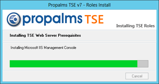 b. IIS, ASP, ASP.NET will be installed during the TSE WEB Role installation. c. If not installed, Remote Desktop Service Session Host Role will be installed with default settings. d. New install dialog that shows progress of the Windows component being installed and TSE Roles.