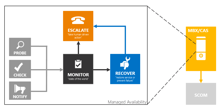 Managed Availability Monitoring and recovery infrastructure is integrated with Exchange s high availability solution