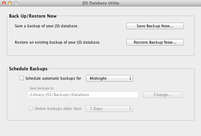 Restoring Database Backups If you need to revert to an earlier version of your database, you can restore a database backup. 1. Open the JSS Database Utility. 2.