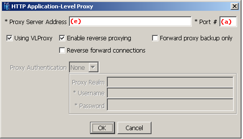 VLProxy Configuration Setup The following screen shows the HTTP Application-Level Proxy screen.