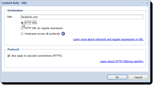 Configuring the Content Filter Figure 5 The first part of the Detected Content settings 7. Click OK. 8.