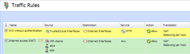 Configuring traffic rules Enabling certain users to access the Internet In a private network and with the Internet connection performed through NAT, you can specify which users can access the