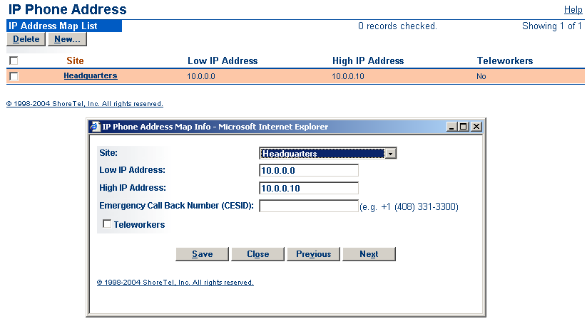 IP Phone Installation Setting IP Address Ranges If your system consists of more than one site, you must define an IP address range for IP phones at each site in the system.
