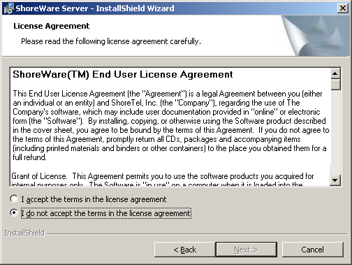 Server Installation Step 2 Review the welcome window (Figure 17-5). Click Next. Figure 17-5 Welcome Step 3 Review the license agreement (Figure 17-6). Click I accept.