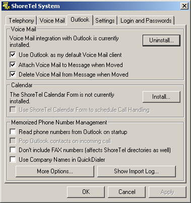 Desktop Installation Step 3 Click the Outlook tab as shown in Figure 18-15. Figure 18-15 ShoreTel System Control Panel (Outlook Tab) Step 4 Click Install.