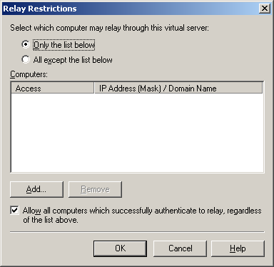 Chapter 6 SMTP Integration b) Click Relay in the Relay restrictions section.
