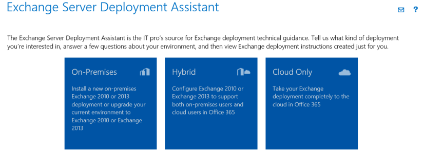 The Exchange Deployment Assistant Hosted Exchange comes in many forms.