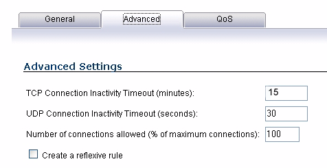 4. Click on the Advanced tab. In the TCP Connection Inactivity Timeout (minutes) field, set the length of TCP inactiviy after which the access rule will time out. The default value is 15 minutes.