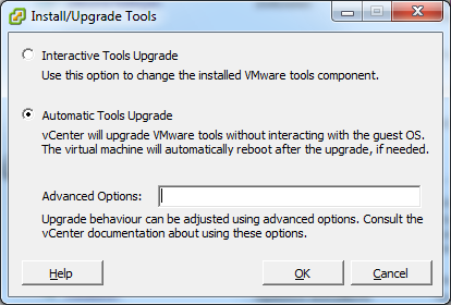 48 en Installing VM Bosch Video Management System 15. The Install/Upgrade Tools window is displayed. Click Automatic Tools Upgrade, then click OK. vcenter will upgrade VMware tools.