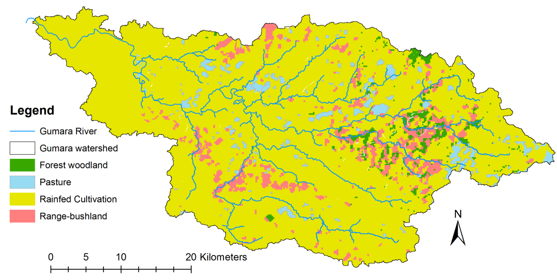 WATER BALANCE AND WATER AVAILABILITY UNDER LAND-USE AND LAND MANAGEMENT SCENARIOS Figure 7-2 Land-use map of Gumara watershed Without (top) and with (bottom) watershed treatment and planned Gumara
