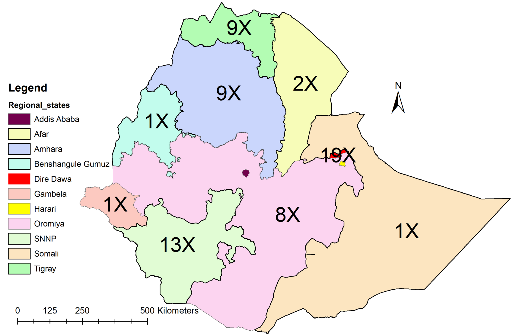 APPENDICES Figure 10-2 National regional states and city administrations maps of Ethiopia and their relative population density (per km 2 ) Addis Ababa and Dire Dawa are city administrations while