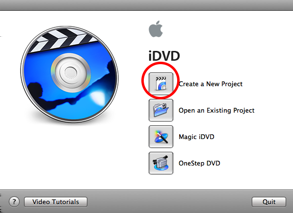 Step Six: Open up idvd and create a new project Close QuickTime and open up idvd.