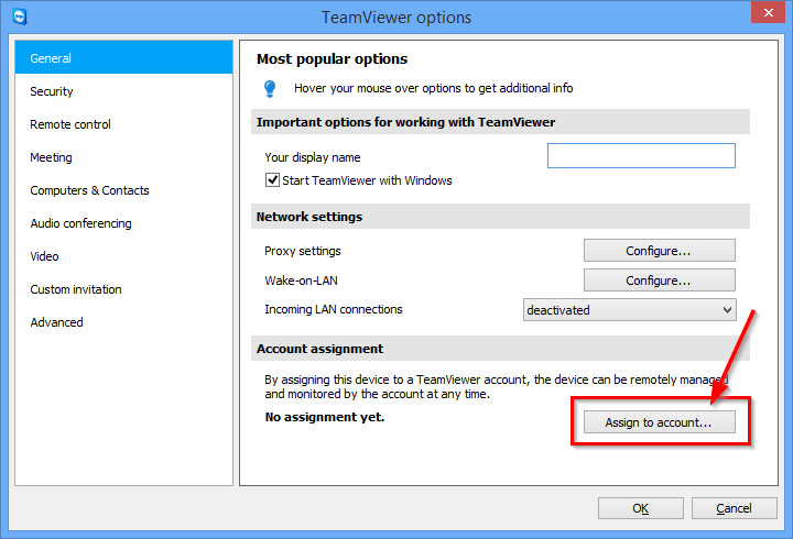 Configure TeamViewer TeamViewer account. Only the TeamViewer account linked with the computer can wake it up.