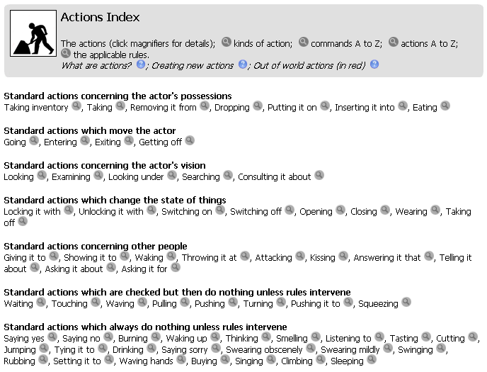 If you click on the gray magnifying-glass button next to an action in the Actions Index, a page will open up in which you ll learn more about that action.