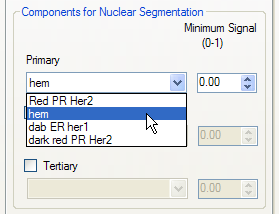 "choosing the View Component Data tool from the toolbar and ""mousing around"" on the brightest nuclei to see the signal levels of the component being used for nuclear segmentation."
