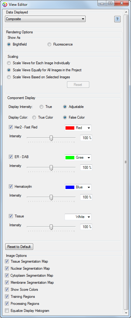 16.3 Viewing the Composite Image Select Composite Image in the Data Displayed list, then choose the desired options.