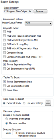 17 Exporting the Data After analyzing the images, use the Export step to export images, component images, maps, and data tables. Images are exported in the format selected in the Export Settings step.