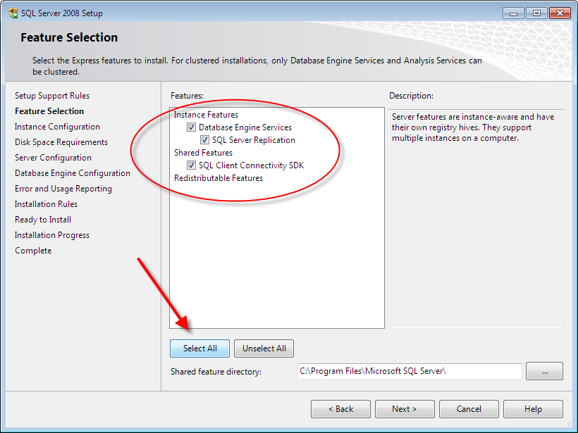 Select all features: SQL Server 2008