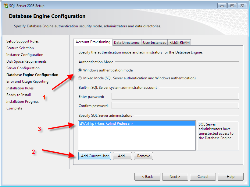 SQL Server 2008 Express - Installation Guide Page 16 Be sure that Windows Authentication Mode is selected, and hit