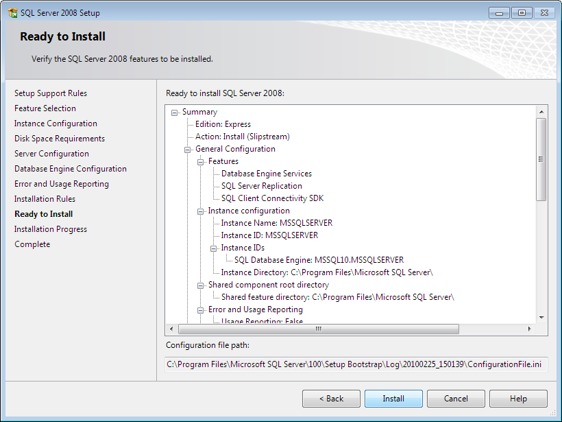 And finally install: SQL Server 2008