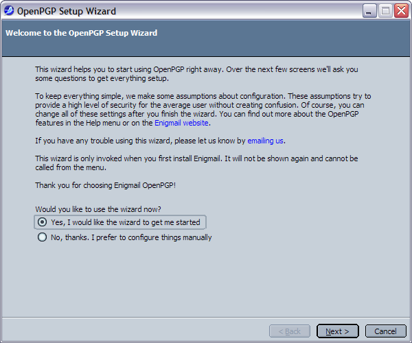 6.1. The Setup Wizard Select OpenPGP Setup Wizard and the following window will appear.