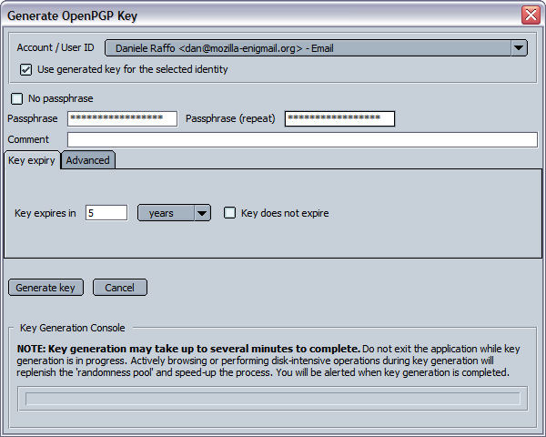 7.2. Generating your own key pair You need to own a key pair to join the elite that communicates securely using GnuPG. You can create one at any moment by selecting Generate New Key Pair.