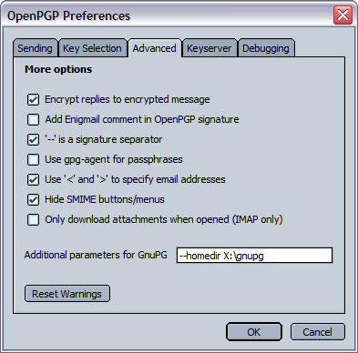 9.1.4. Advanced These settings define miscellaneous OpenPGP and Enigmail options.