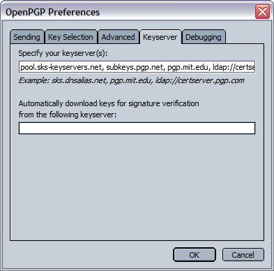 9.1.5. Keyserver These are the options related to keyservers used to search public keys from. The text field Specify your keyserver(s) allows you to specify a list of OpenPGP keyservers.