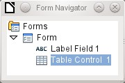 Table control The use of the Table Wizard to create a table control has already been described on page 87.