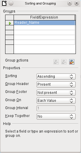 Initially the navigator shows, in addition to the visible sections of the document (Page header, Groups, Detail, and Page footer), the possibility of including functions.