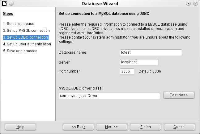 Type in the JDBC driver class and click the Test class button.