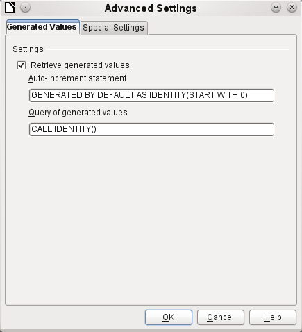 Auto-incrementing values with external HSQLDB To use autovalues, different procedures for table configuration are needed according to the version of LibreOffice.