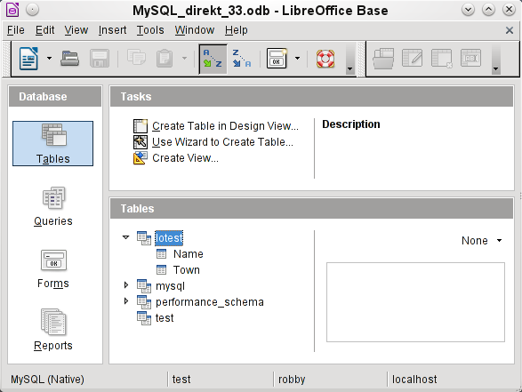 Instead of only the database input in Step 3 of the Wizard (see lower status bar), LibreOffice opens all databases that are available in MySQL to the user robby.