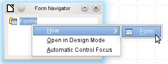 Figure 22: Available buttons on the Form Design toolbar Figure 23: Using the Form Navigator to create a new form In the Form Navigator (Figure 23), right-click on Forms to open a context menu.