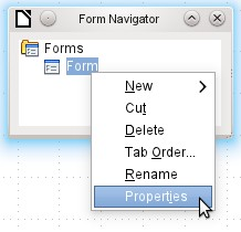 The context menu of the form (shown below) provides the way to create form properties.