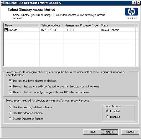 The Select Directory Access Method page determines if the HP Extended schema, schema-free (default schema), or no directories support configuration pages follow.