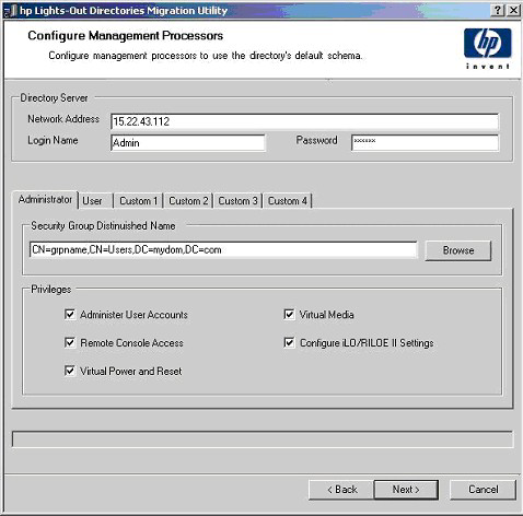 Configuring directories when schema-free integration is selected The Configure Management Processors page appears after selecting to use the directory's default schema and clicking Next on the Select