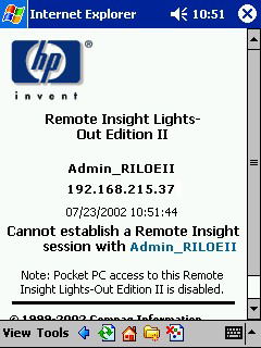 If Pocket PC access is disabled, a page similar to the following appears. User authentication is required for access to RILOE II.