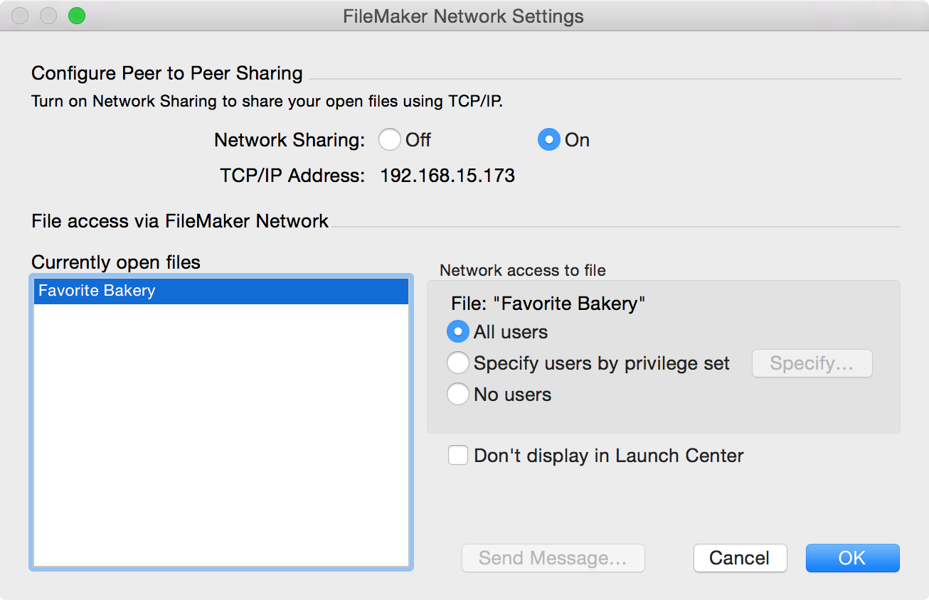 Chapter 1 Setting up solutions for FileMaker Go 6 Network Sharing on Allow network access Settings to enable network sharing for FileMaker Go clients Hosting files with FileMaker Server overview