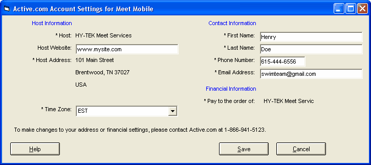 4 WIN-MM License includes the address and pay to. To edit, from the main screen in MM, go to Set-up / Meet Mobile 2.5 Publishing / Settings and click the Active.