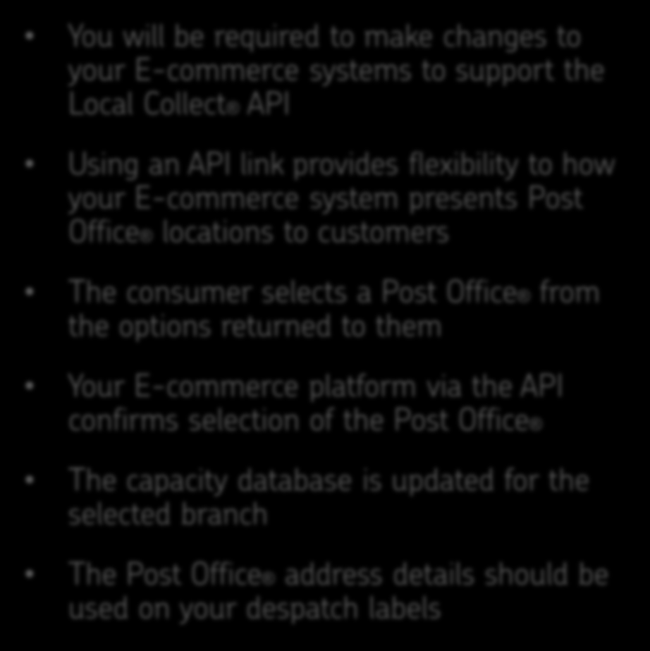 What you need to do to offer Local Collect on your site Royal Mail have developed two Web Services to enable Post Office locations to be retrieved from the Post Office Capacity Database, and to