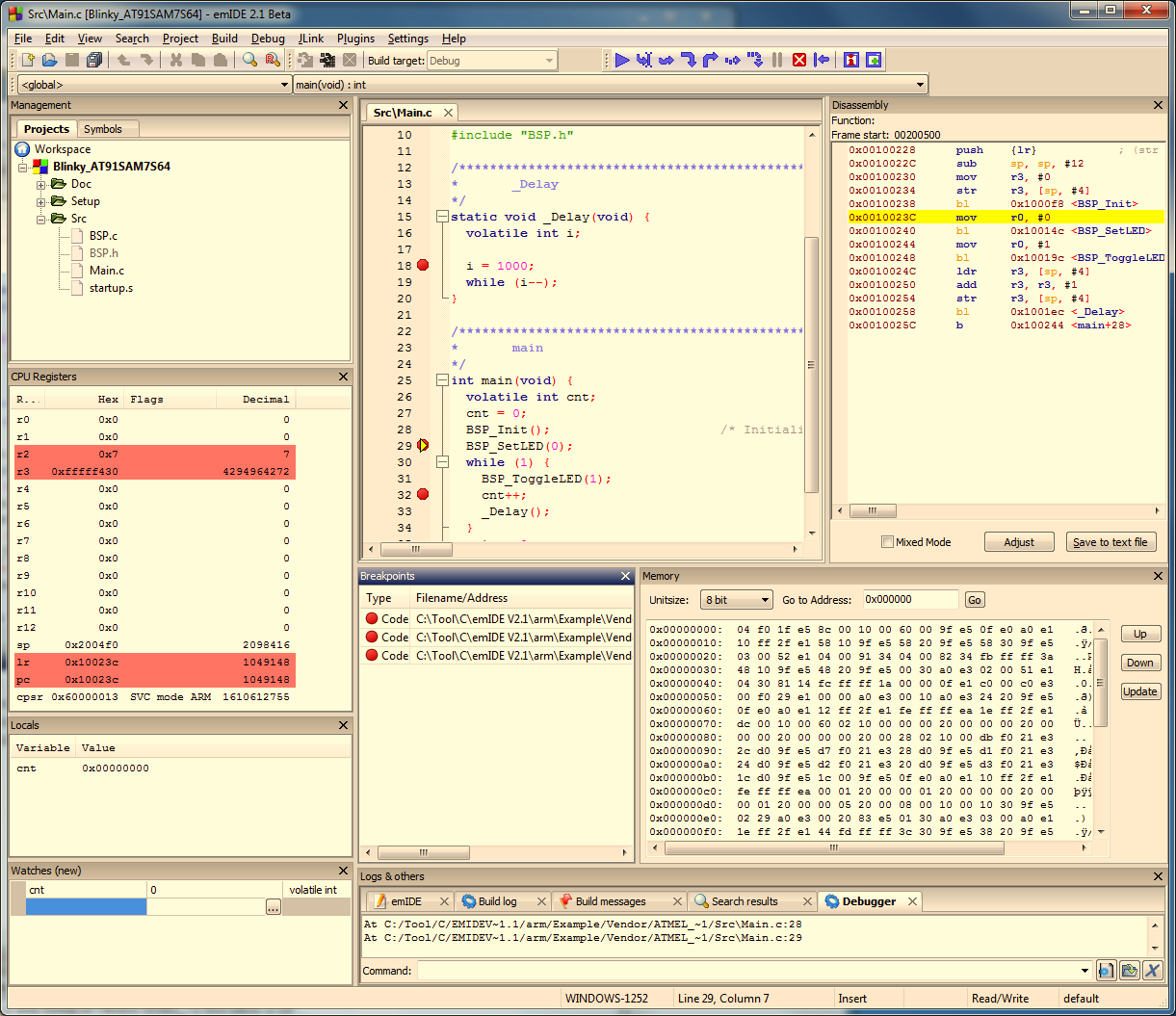 87 The screenshot below shows a debug session in IDE. For download and more information about emide, please refer to http://emide.org. Console GDB can be used stand-alone as a console application.