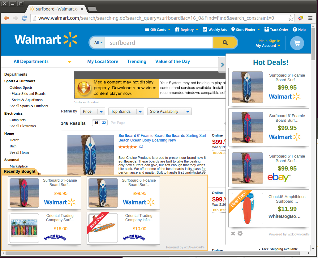 (a) Google (b) Amazon (c) Walmart Figure 1: Sample of ad injection on different search and shopping properties. None of the ads displayed are organic to the page.