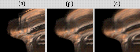 Figure 13: The effects of interpolation during slice extraction. (a) No interpolation. (b) Linear interpolation in uv only. (c) Quadralinear interpolation in uvst.