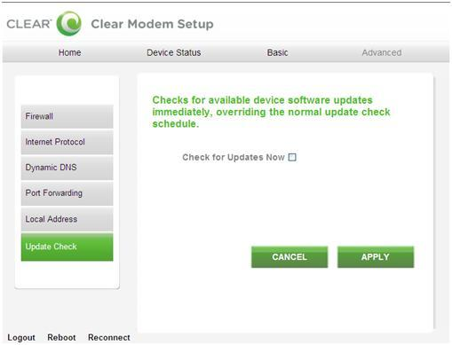 Modem Home Page / Advanced / Check Updates Tab This screen allows you to view and update your software information.